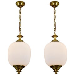 Pair of 1950s Italian Glass and Brass Pendants