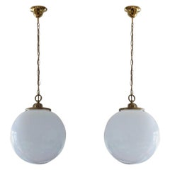 Pair of 1950s Italian Large Hand Blown Opaline Glass Pendants