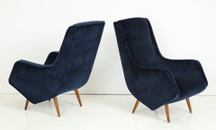 Pair of 1950s Italian Lounge Chairs by ISA Bergamo in Cobalt Blue Velvet