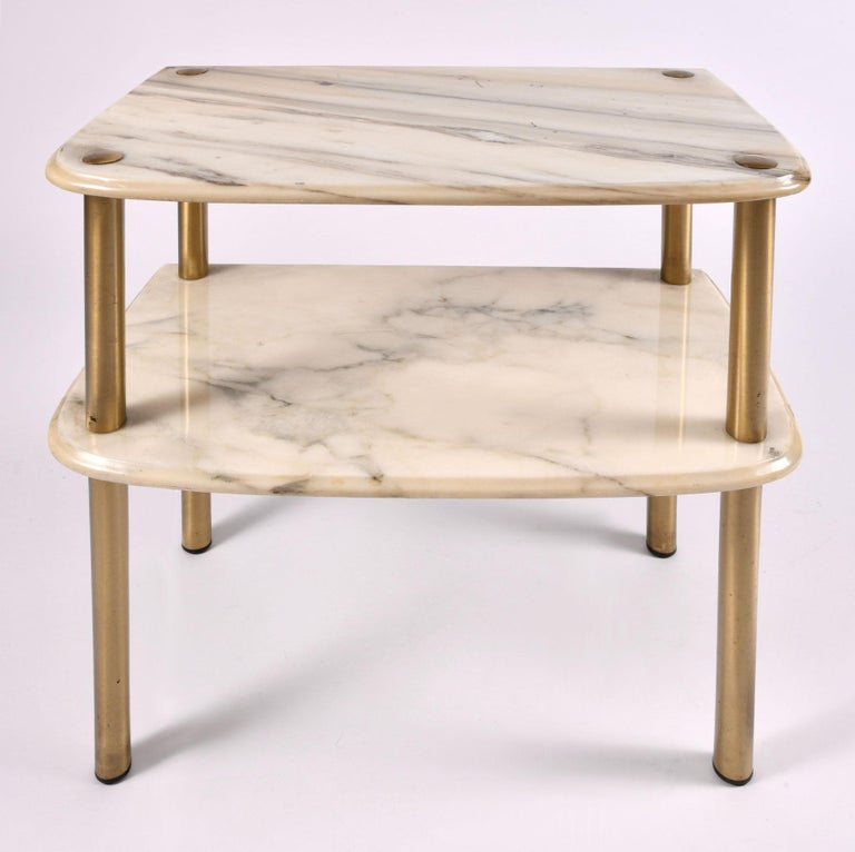 Pair of 1950s Italian Marble-Topped Side Tables In Good Condition For Sale In London, GB
