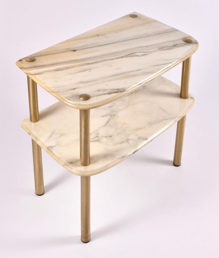 Mid-20th Century Pair of 1950s Italian Marble-Topped Side Tables For Sale