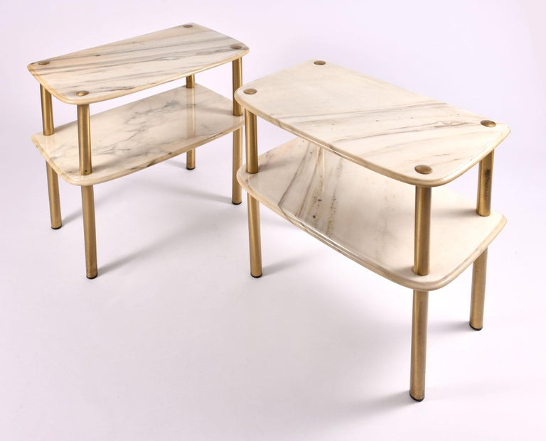 Brass Pair of 1950s Italian Marble-Topped Side Tables For Sale