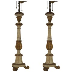 Pair of 1950s Italian Painted Carved Wood  Candlestick Lamps