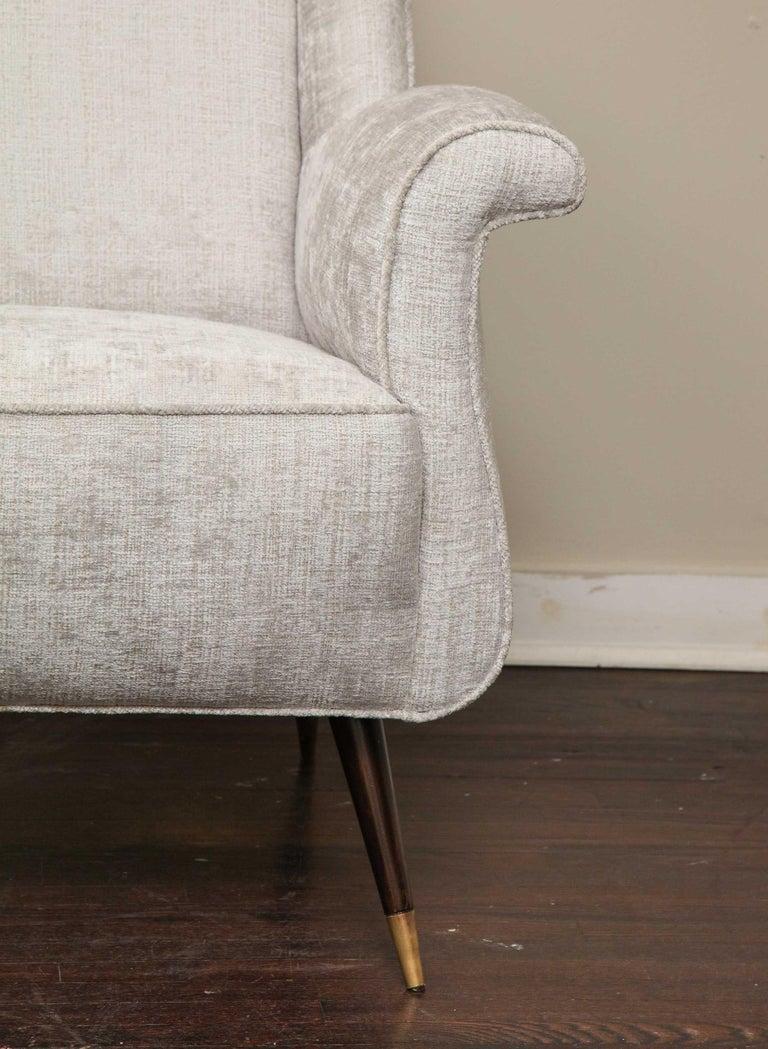 Pair of 1950s Italian Petite Rolled Armchairs in Platinum Velvet For Sale 7