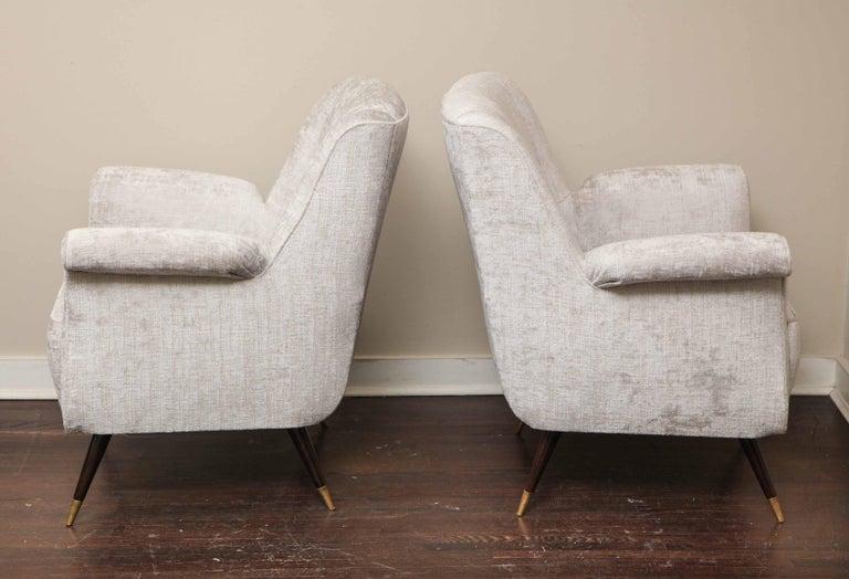 Mid-Century Modern Pair of 1950s Italian Petite Rolled Armchairs in Platinum Velvet For Sale