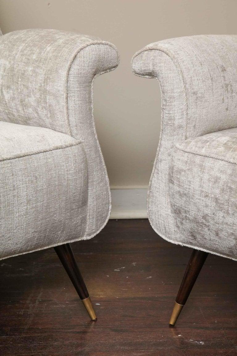 Mid-20th Century Pair of 1950s Italian Petite Rolled Armchairs in Platinum Velvet For Sale