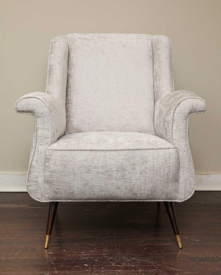 Brass Pair of 1950s Italian Petite Rolled Armchairs in Platinum Velvet For Sale