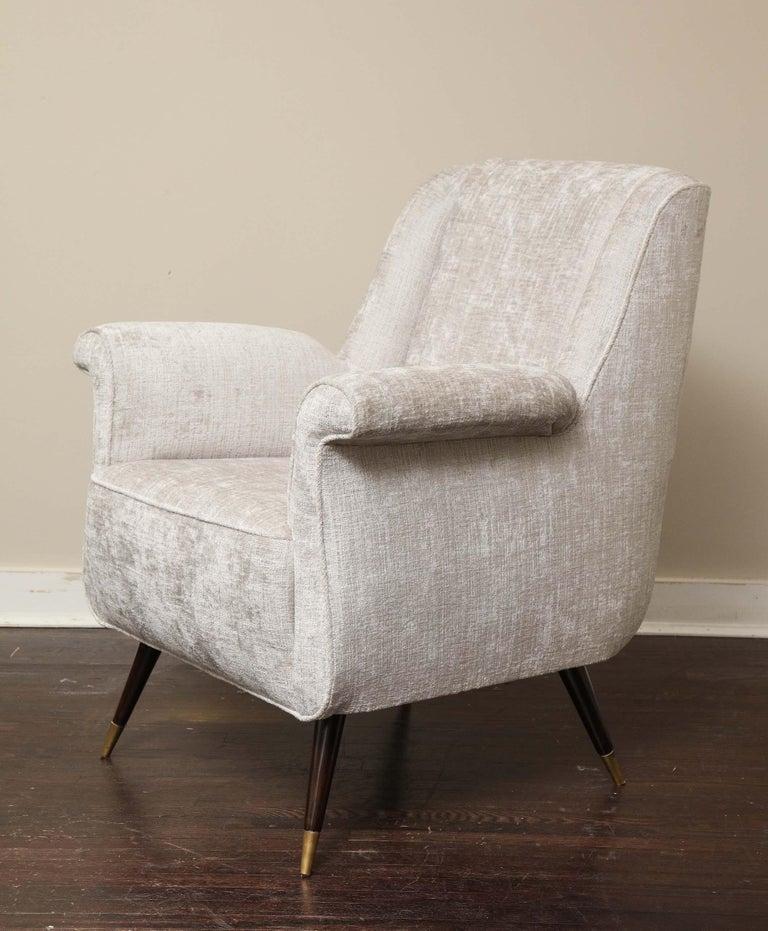 Pair of 1950s Italian Petite Rolled Armchairs in Platinum Velvet For Sale 1