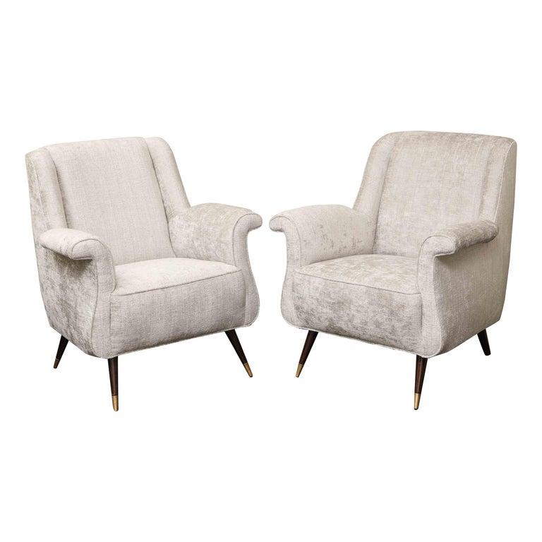 Pair of 1950s Italian Petite Rolled Armchairs in Platinum Velvet For Sale