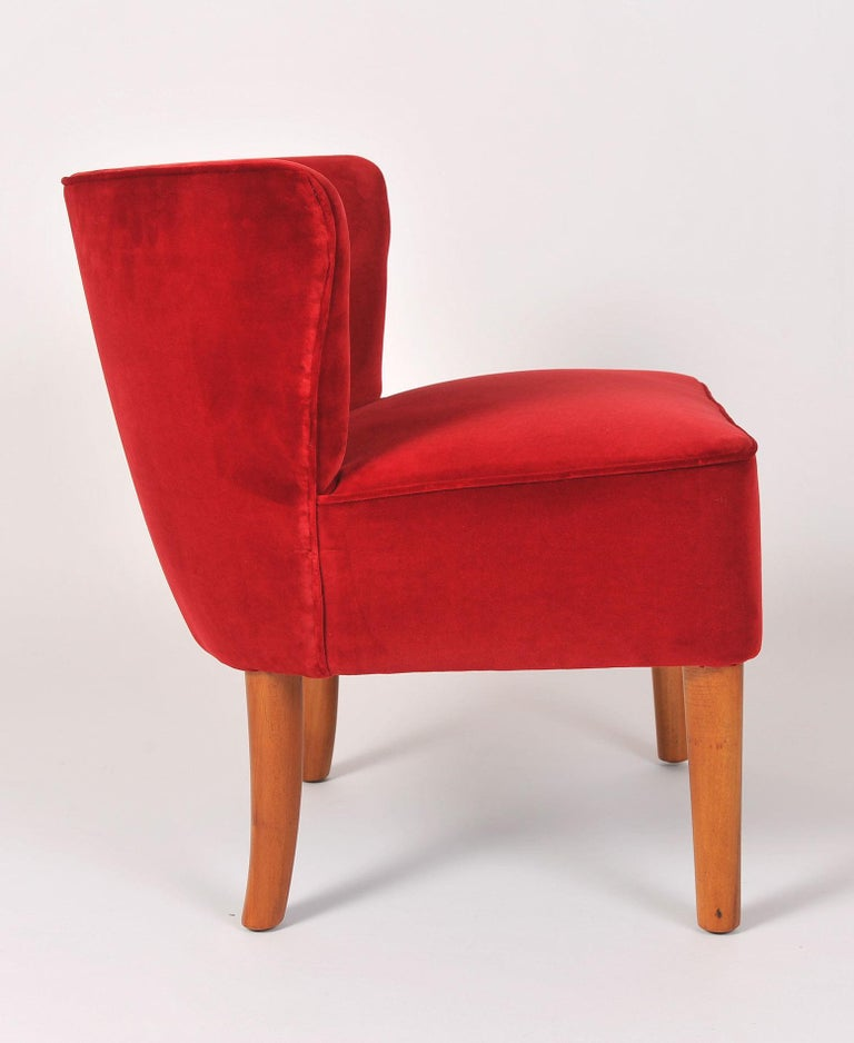 Pair of 1950s Italian Red Occasional Chairs In Good Condition For Sale In London, GB
