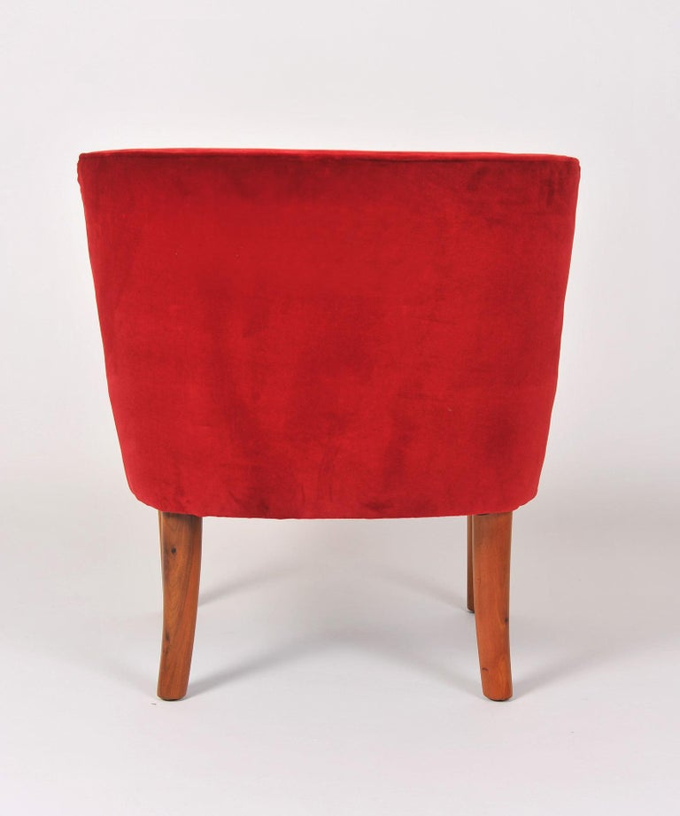 Mid-20th Century Pair of 1950s Italian Red Occasional Chairs For Sale
