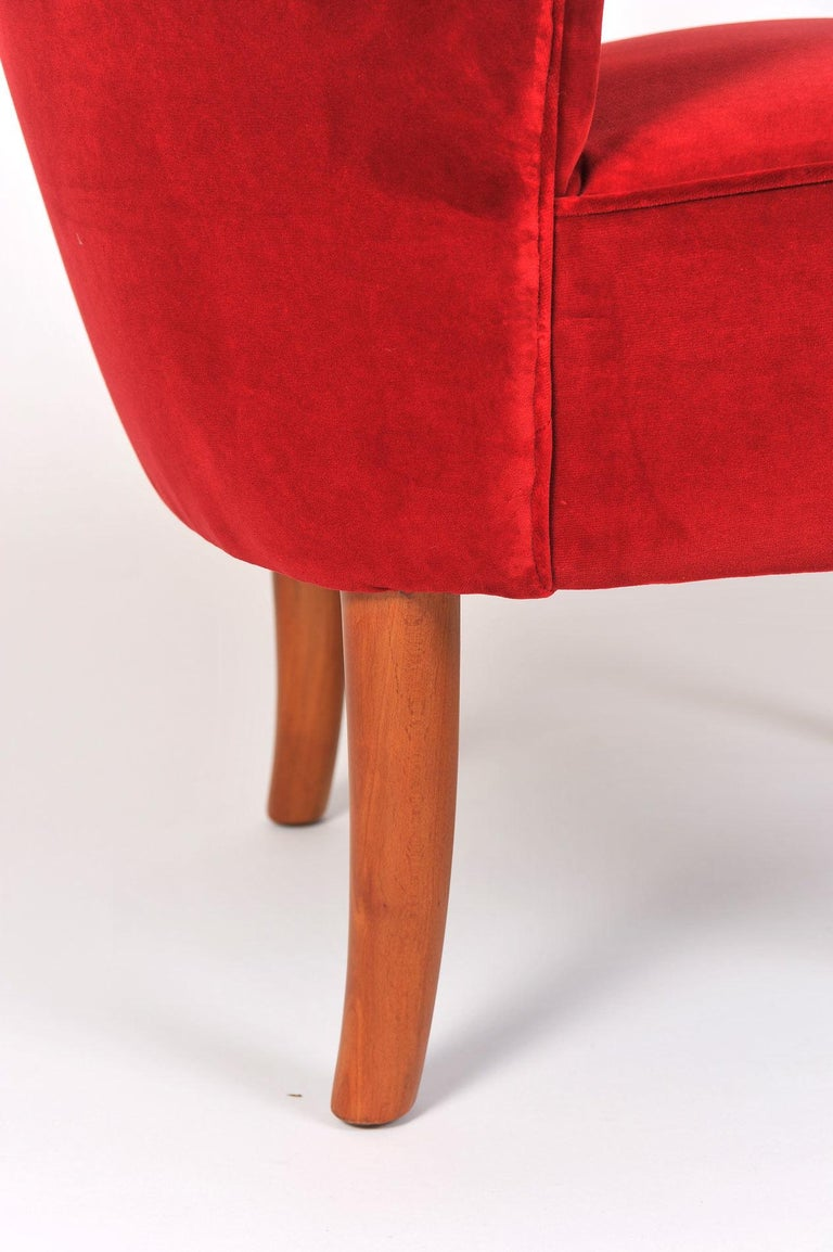 Velvet Pair of 1950s Italian Red Occasional Chairs For Sale