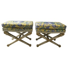 Pair of 1950s Italian Regency Style Painted Wood and Gilt Benches