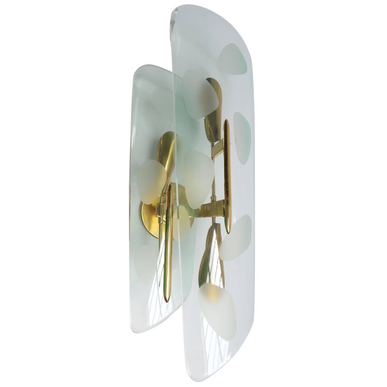 Pair of 1950s Italian Sconces with Etched Glass and Brass Frames For Sale