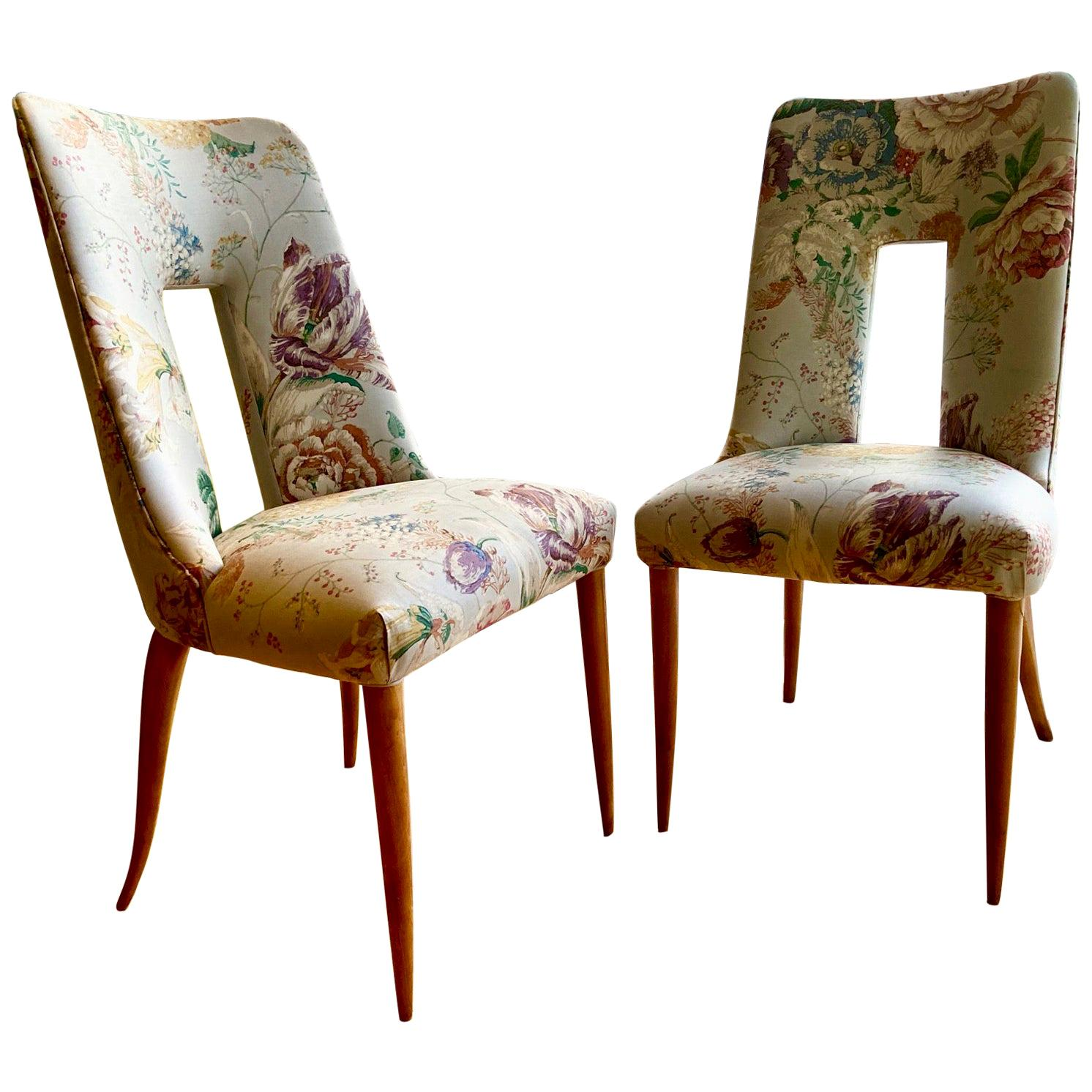 a Pair of 1950s Italian Side Chairs, in Flowery Pastel Grey Blue Upholstery