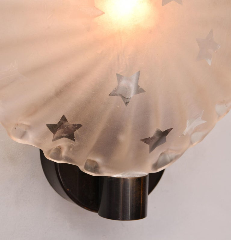 Etched Pair of 1950s Italian 'Star' Wall Lights For Sale