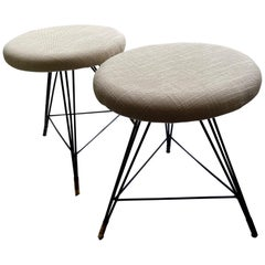 A Pair of 1950s Italian Stools, White Seats, Black Metal Legs and Brass Sabots