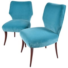 Pair of 1950s Italian Turquoise Occasional Chairs