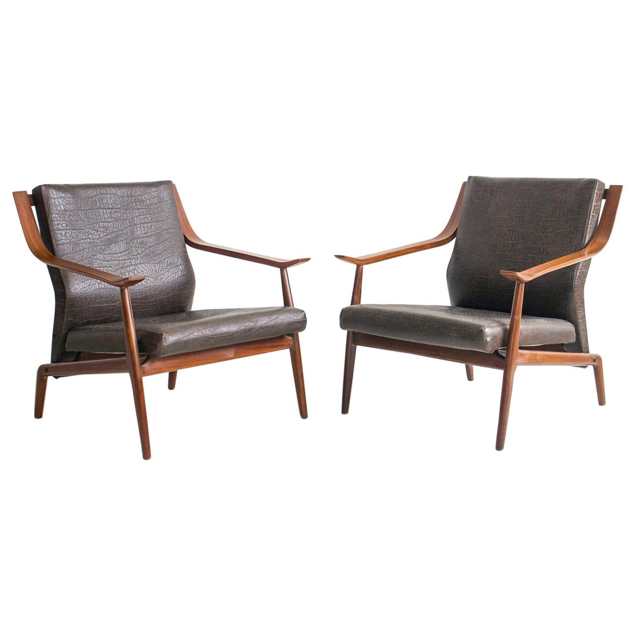 Pair of 1950s Italian Wooden Armchairs with Faux Leather Upholstery