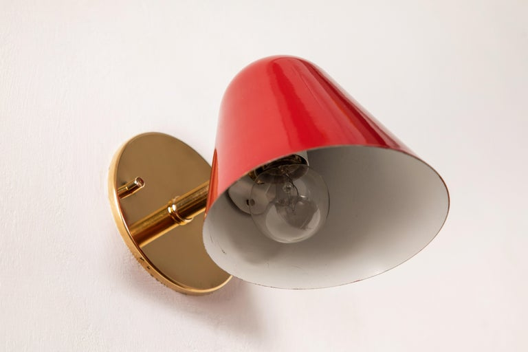 Pair of 1950s Jacques Biny Red Wall Lights For Sale 2