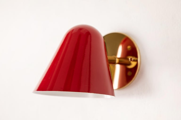Pair of 1950s Jacques Biny Red Wall Lights For Sale 5
