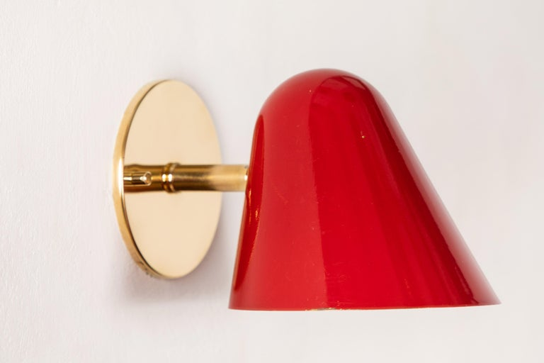 Pair of 1950s Jacques Biny Red Wall Lights For Sale 6
