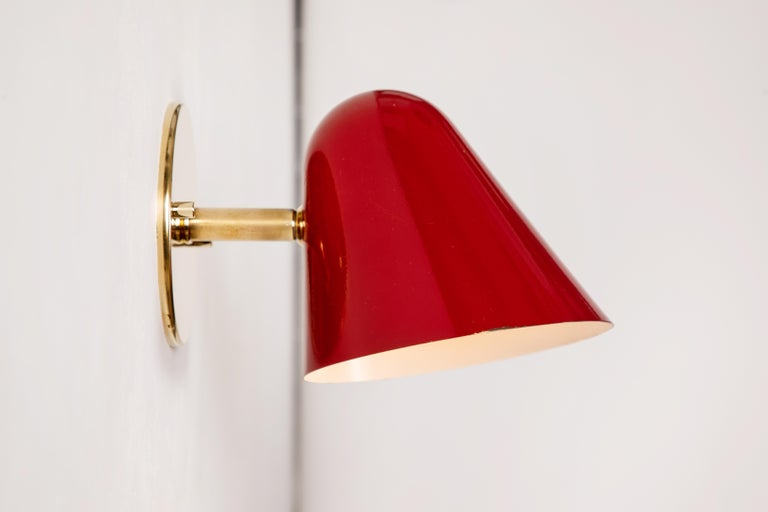 Metal Pair of 1950s Jacques Biny Red Wall Lights For Sale