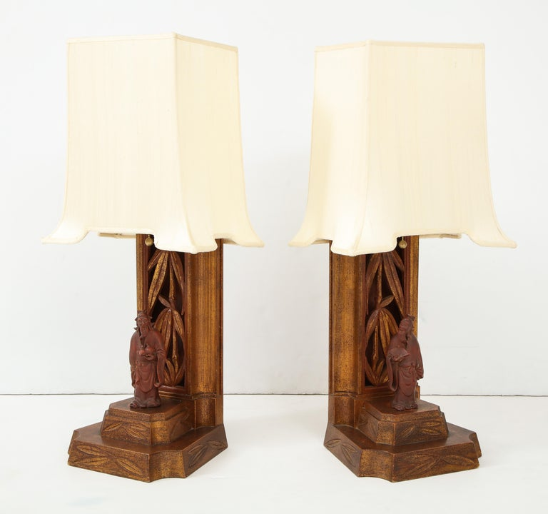 Mid-Century Modern Pair of 1950s James Mont Lamps For Sale