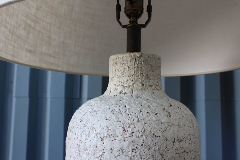 Mid-20th Century Pair of 1950s Lamps with a Heavy Texture Glaze For Sale