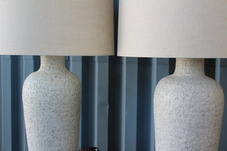 Pair of 1950s Lamps with a Heavy Texture Glaze For Sale 1