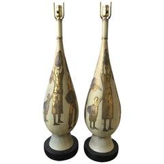 Pair of 1950s Large Italian Ceramic Lamps