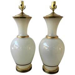 Pair of 1950s Large White Opaline Glass Lamps with Gold Trim