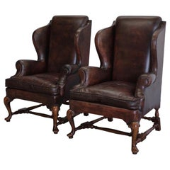 Pair of 1950s Leather Wingback Armchairs in Walnut