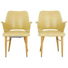 Pair of 1950s Leatherette Scandinavian Design Armchairs