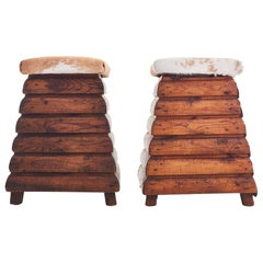 Pair of 1950s Lodge Style Cowhide Stools