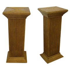 Pair of 1950s Mid Century Handcrafted Geometric Rattan Pedestals Columns Stands