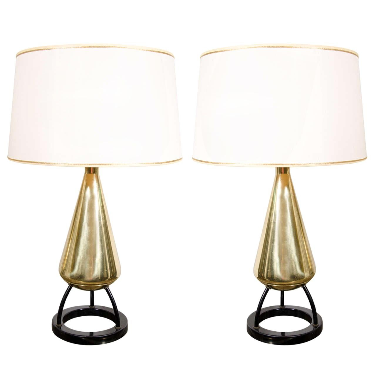 Pair of 1950s Mid-Century Modern Atomic Age Brass and Enamel Table Lamps