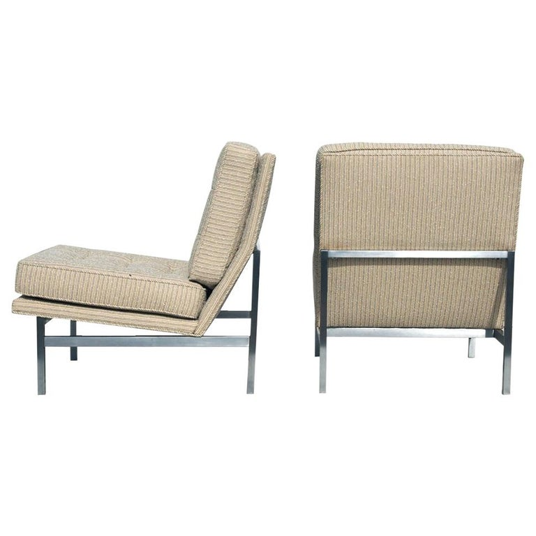 Pair of 1950s Midcentury Florence Knoll Lounge Chairs For Sale