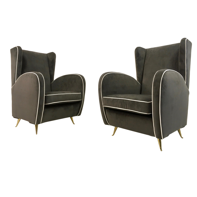 Pair of 1950s Midcentury Italian Armchairs in Grey Velvet