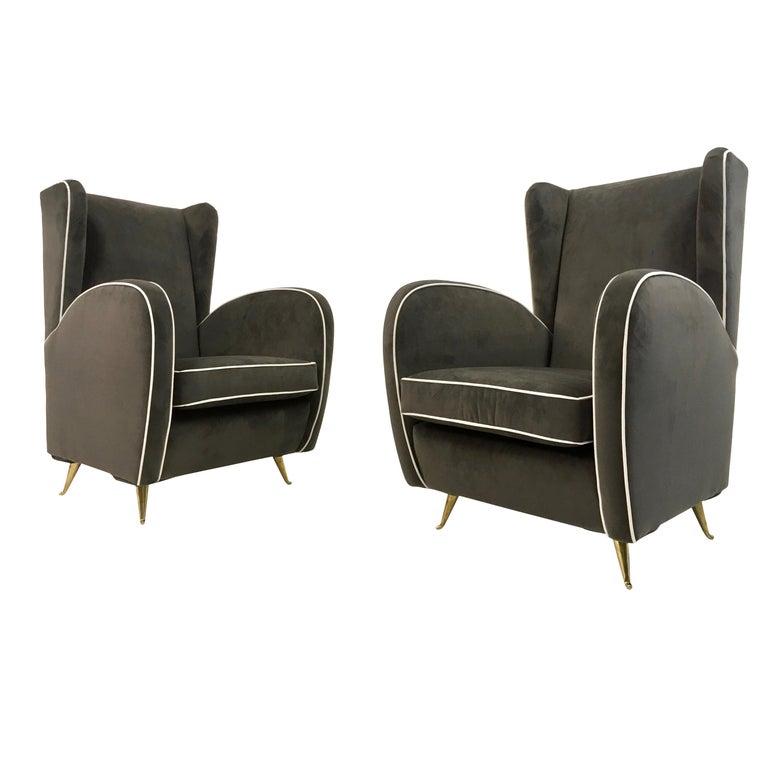 Pair of 1950s Midcentury Italian Armchairs in Grey Velvet For Sale