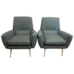 Pair of 1950s Midcentury Vintage Italian 1950s Armchairs in Teal Fabric
