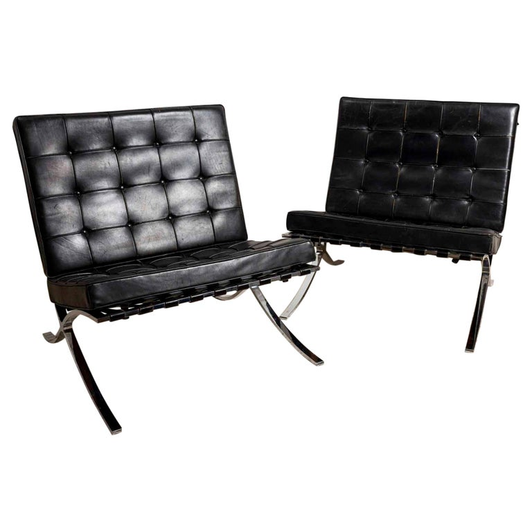 Pair of 1950s Mies van der Rohe Chrome and Black Leather Barcelona Chairs For Sale