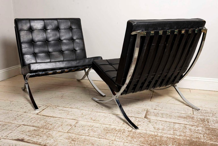 Pair of 1950s Mies van der Rohe Chrome and Black Leather Barcelona Chairs In Fair Condition For Sale In London, GB