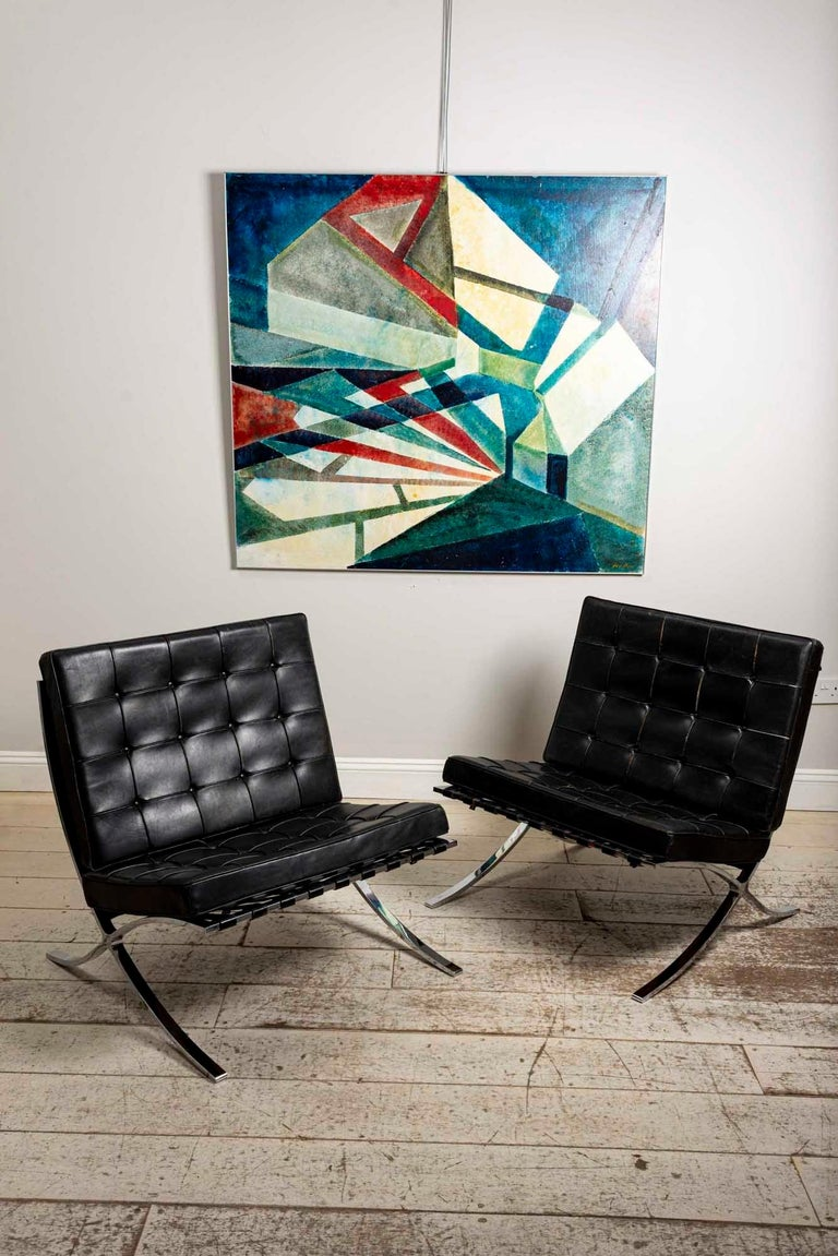 Pair of 1950s Mies van der Rohe Chrome and Black Leather Barcelona Chairs For Sale 1