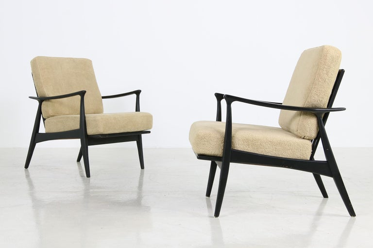 Pair of 1950s Minimalist Beechwood Organic Easy Chairs, Lounge Chairs Midcentury In Good Condition For Sale In Hamminkeln, DE