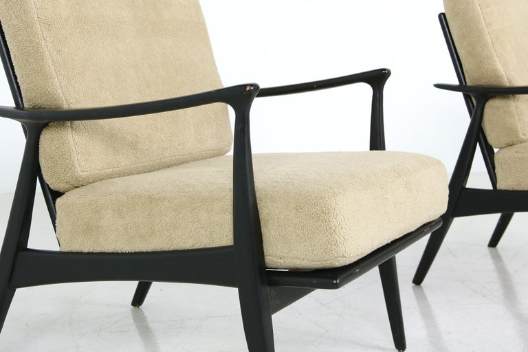 Mid-20th Century Pair of 1950s Minimalist Beechwood Organic Easy Chairs, Lounge Chairs Midcentury For Sale