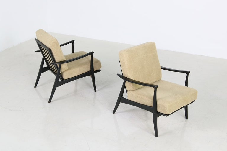 Fabric Pair of 1950s Minimalist Beechwood Organic Easy Chairs, Lounge Chairs Midcentury For Sale