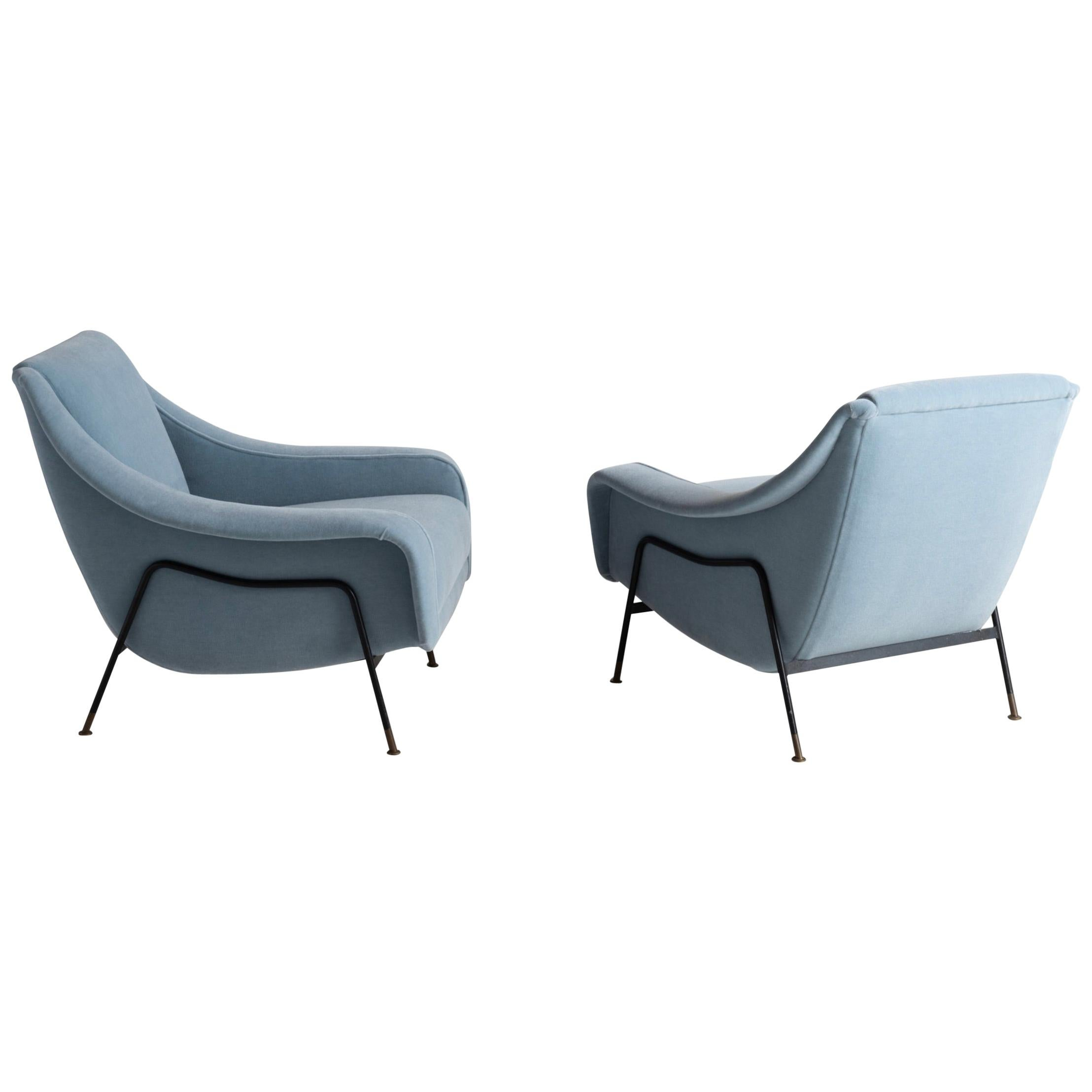 Pair of 1950s Modern Lounge Chairs by Ezio Minotti