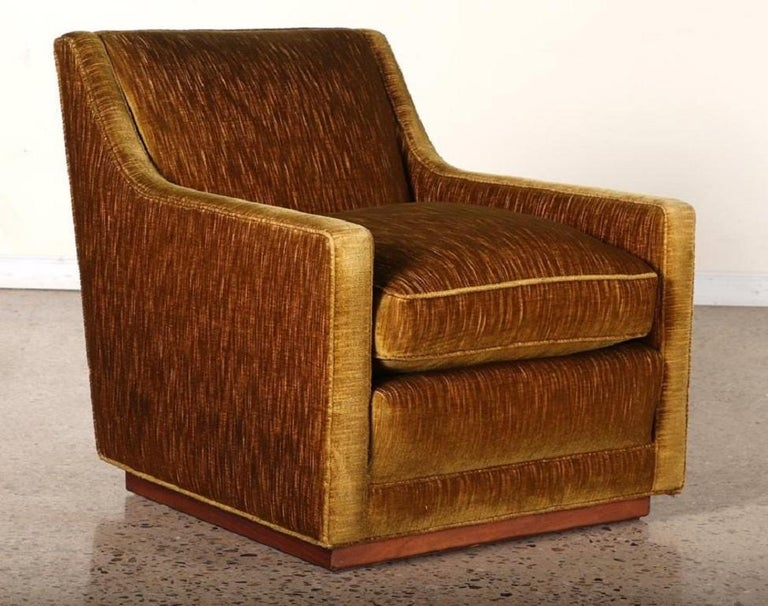 Pair of 1950s Mohair Lounge chairs with a walnut plinth base. Original upholstery.