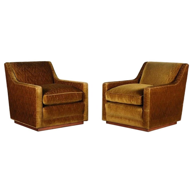 Pair of 1950s Mohair Lounge Chairs For Sale